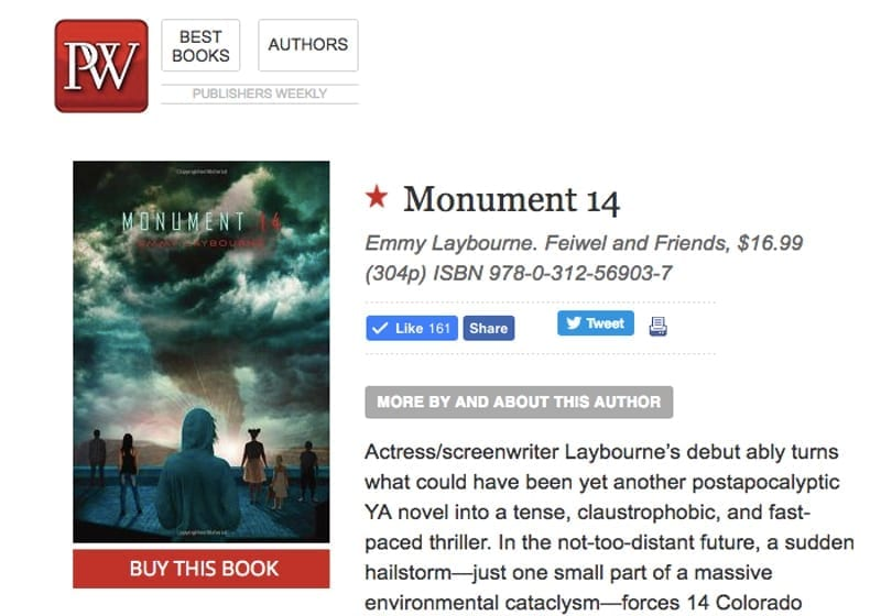 Publishers Weekly Starred Review: Monument 14
